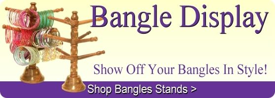 Handmade Indian wood bangle display stands.